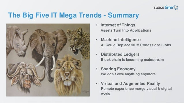 The Big Five IT Mega Trends - Summary • Internet of Things Assets Turn Into Applications • Machine Intelligence AI Could R...