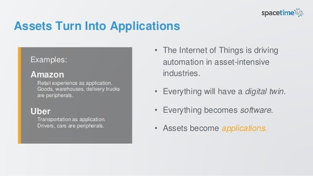 Assets Turn Into Applications • The Internet of Things is driving automation in asset-intensive industries. • Everything w...