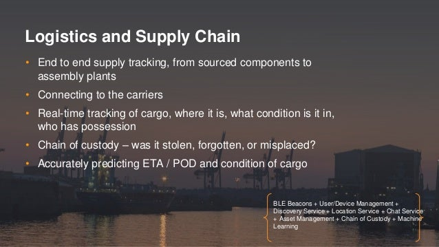 • End to end supply tracking, from sourced components to assembly plants • Connecting to the carriers • Real-time tracking...