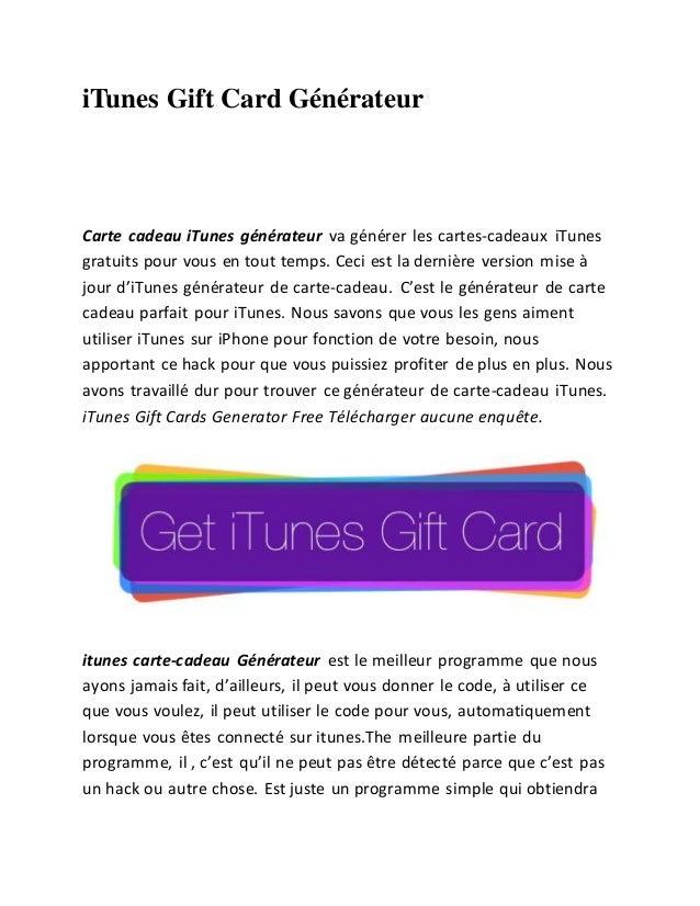 iTunes Gift Card Générateur  Carte cadeau iTunes générateur va générer les cartes-cadeaux iTunes  gratuits pour vous en to...