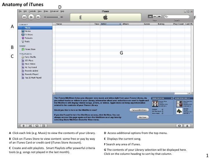 Anatomy of iTunes 1 A B C D E F G A   Click each link (e.g. Music) to view the contents of your Library.   B  Click on iTu...