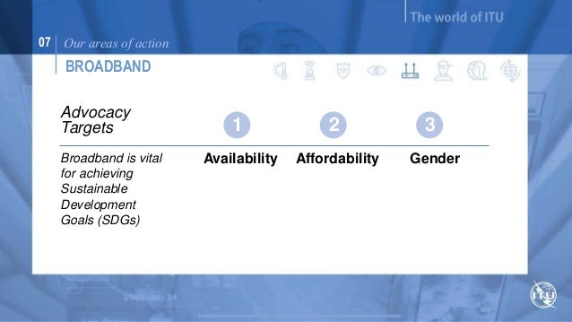 07 Our areas of action  YOUTH  Initiatives &  opportunities  Broadband is vital  for achieving  Sustainable  Development G...