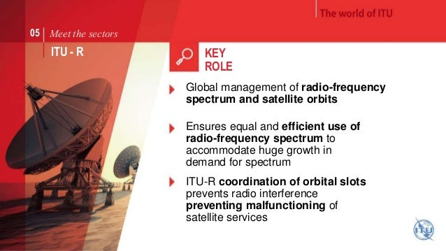 Meet the sectors  ITU - R  KEY  ROLE  Global management of radio-frequency  spectrum and satellite orbits  Ensures equal a...
