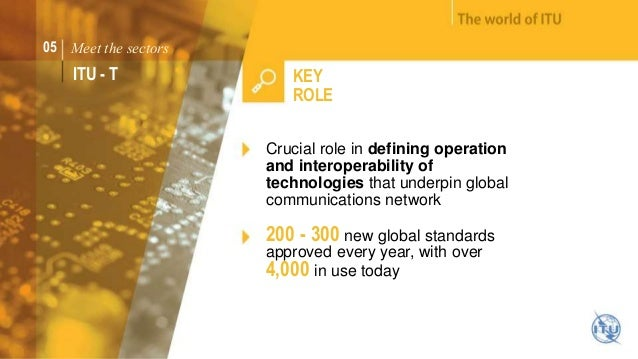 05 Meet the sectors  ITU - T KEY  ROLE  Crucial role in defining operation  and interoperability of  technologies that und...