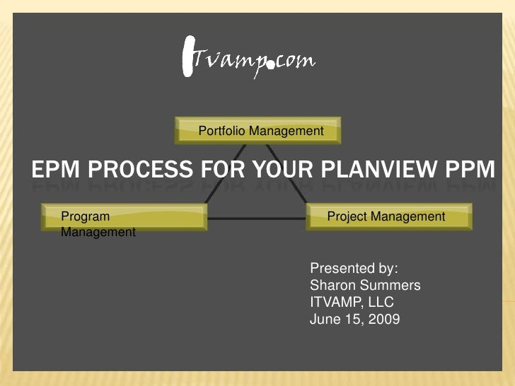 Portfolio Management<br />EPM Process for your Planview ppm<br />Program Management<br />Project Management<br />Presented...