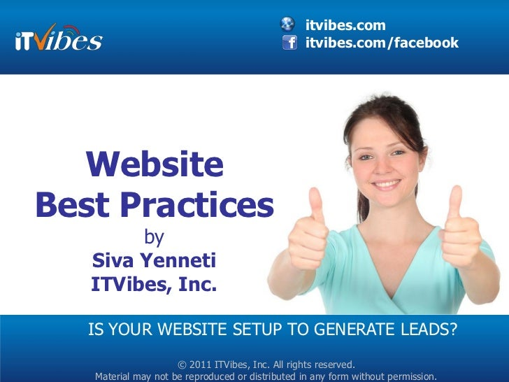 itvibes.com                                                  itvibes.com/facebook  WebsiteBest Practices        by   Siva ...