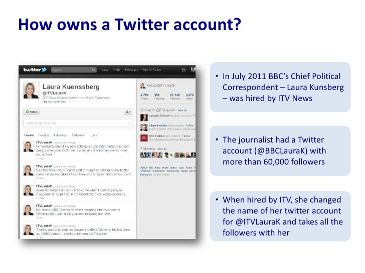 How owns a Twitter account?<br /><ul><li>In July 2011 BBC's Chief Political Correspondent – Laura Kunsberg – was hired by ...