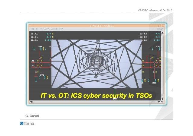 CP-EXPO - Genova, 30 Oct 2013  IT vs. OT: ICS cyber security in TSOs G. Caroti
