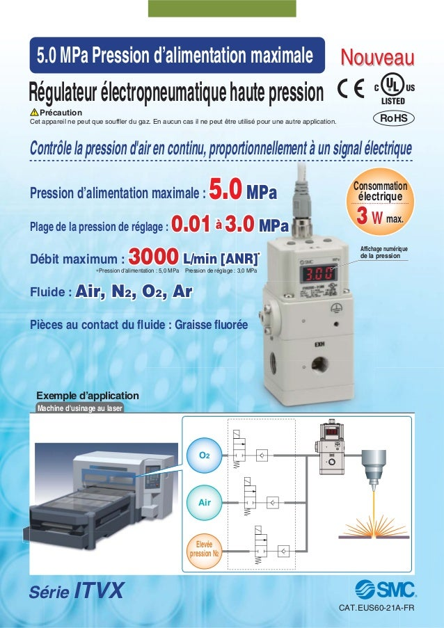 Exemple d'applicationMachine dusinage au laserSérie ITVXRégulateurélectropneumatiquehautepressionCet appareil ne peut que ...