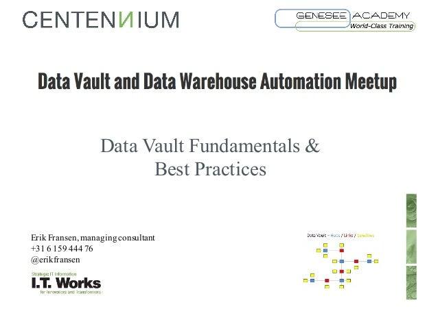 Data Vault Fundamentals & Best Practices 1 Erik Fransen, managingconsultant +31 6 159 444 76 @erikfransen