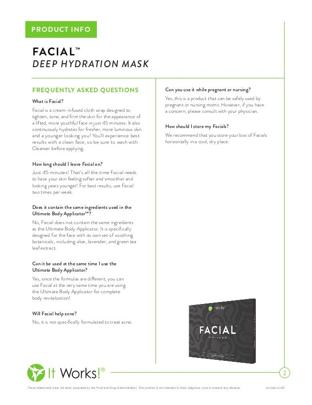 It Works Facial Wrap Deep Hydration Mask