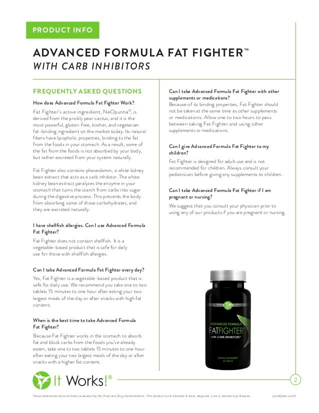 It Works Fat Fighters with Carb Inhibitors