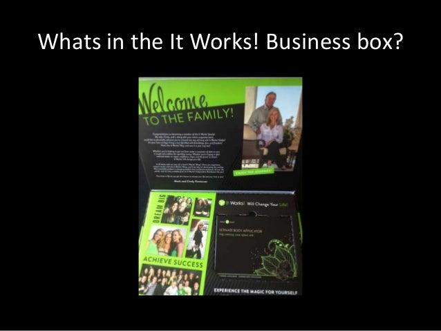 It works!  UK business builder kit:  Find out about the It Works! Business Opportunity & what the Kit Contains Slide 3