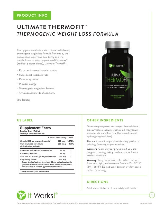 It Works Ultimate Thermofit Thermogenic Weight Loss Formula