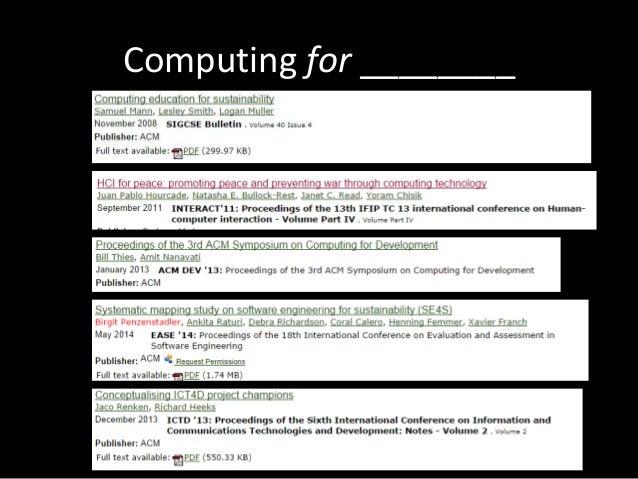 Computing for ________