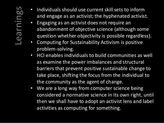 The role of activism in ICT for Sustainability