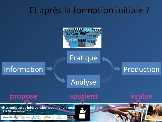 «Numérique et intervention sociale, un monde en mutation» 19 et 20 novembre 2015 Et après la formation initiale ? Pratique...