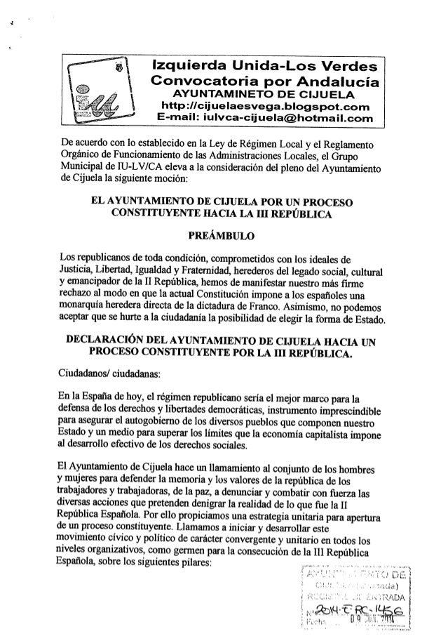 Izquierda Unida-Los Verdes  Convocatoria por Andalucía AYUNTAMINETO DE CIJUELA http: l/cijueIaesvega. blogspot. com E-mail...