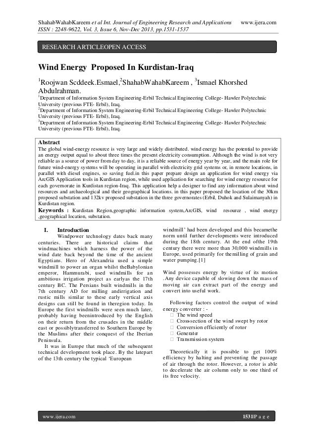 ShahabWahabKareem et al Int. Journal of Engineering Research and Applications ISSN : 2248-9622, Vol. 3, Issue 6, Nov-Dec 2...