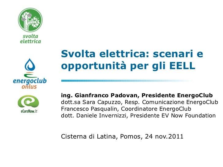 Svolta elettrica: scenari e opportunità per gli EELL ing. Gianfranco Padovan, Presidente EnergoClub dott.sa Sara Capuzzo, ...