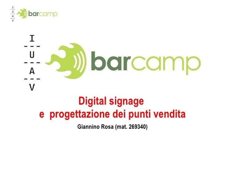 Digital signage  e  progettazione dei punti vendita Giannino Rosa (mat. 269340)
