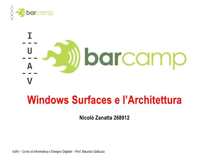 Windows Surfaces e l'Architettura Nicolò Zanatta 268912 IUAV – Corso di Informatica e Disegno Digitale – Prof. Maurizio Ga...