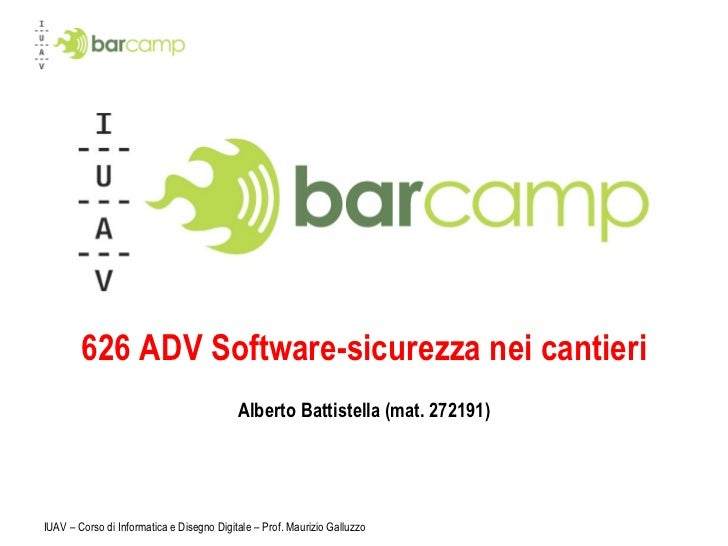 626 ADV Software-sicurezza nei cantieri Alberto Battistella (mat. 272191)