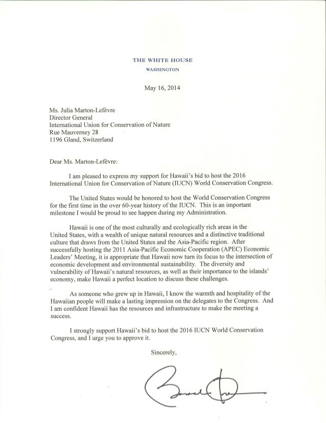 Pres. Obama's Letter of Support to the IUCN