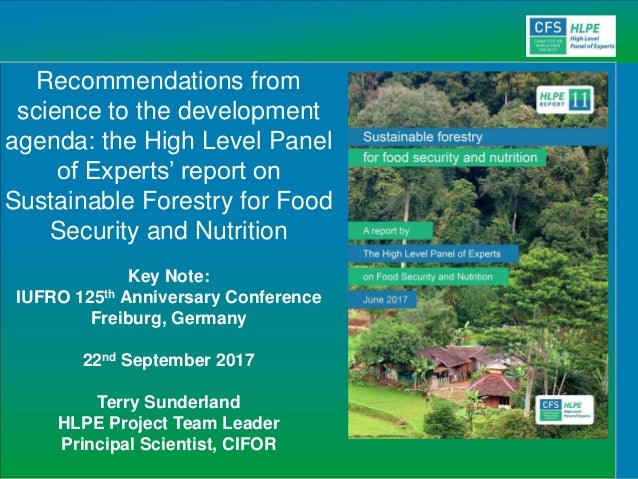 Recommendations from science to the development agenda: the High Level Panel of Experts' report on Sustainable Forestry fo...