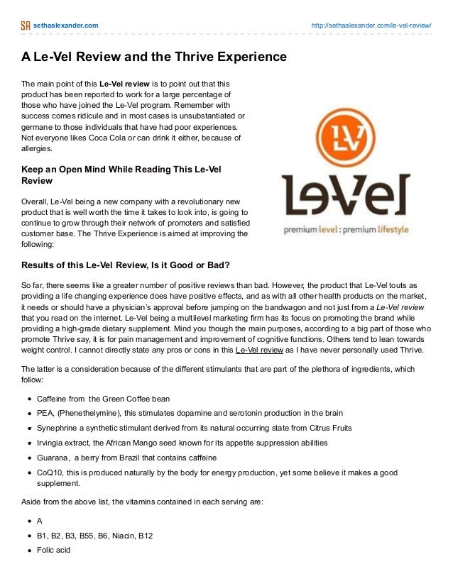 A Le-Vel Review and the Thrive Experience