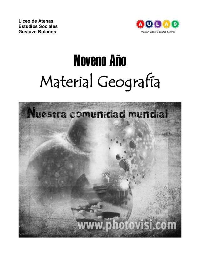 Liceo de Atenas Estudios Sociales Gustavo Bolaños Noveno Año Material Geografía
