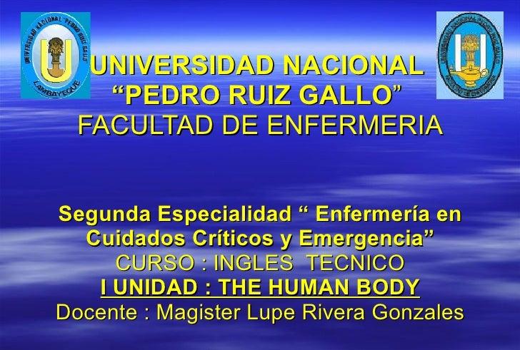"""UNIVERSIDAD NACIONAL  """"PEDRO RUIZ GALLO """"  FACULTAD DE ENFERMERIA Segunda Especialidad """" Enfermería en Cuidados Críticos y..."""