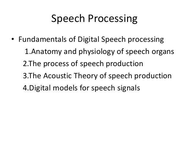 speech processing basics