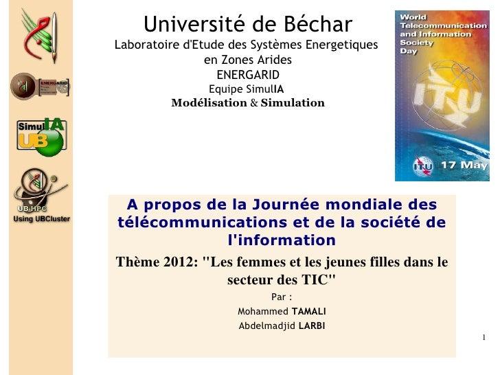 Université de BécharLaboratoire dEtude des Systèmes Energetiques                en Zones Arides                  ENERGARID...