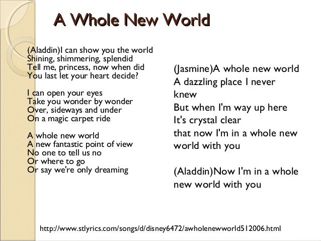 A Whole New World - Aladdin (lyrics) - YouTube