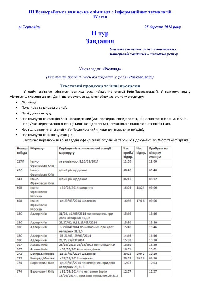 ІІІ Всеукраїнська учнівська олімпіада з інформаційних технологій ІV етап м.Тернопіль 25 березня 2014 року ІІ тур Завдання ...