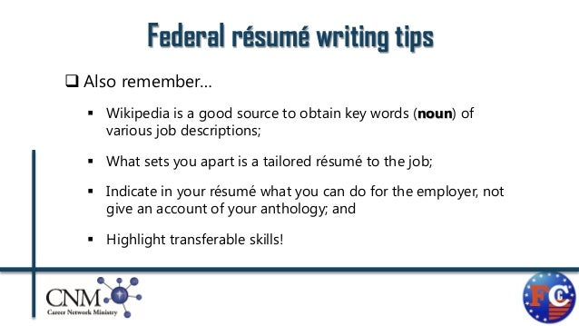 Resume Writing Tips For Federal Jobs Writing A Federal Resume Go Government