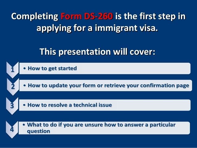 U S Immigrant Visas Completing Form Ds 260