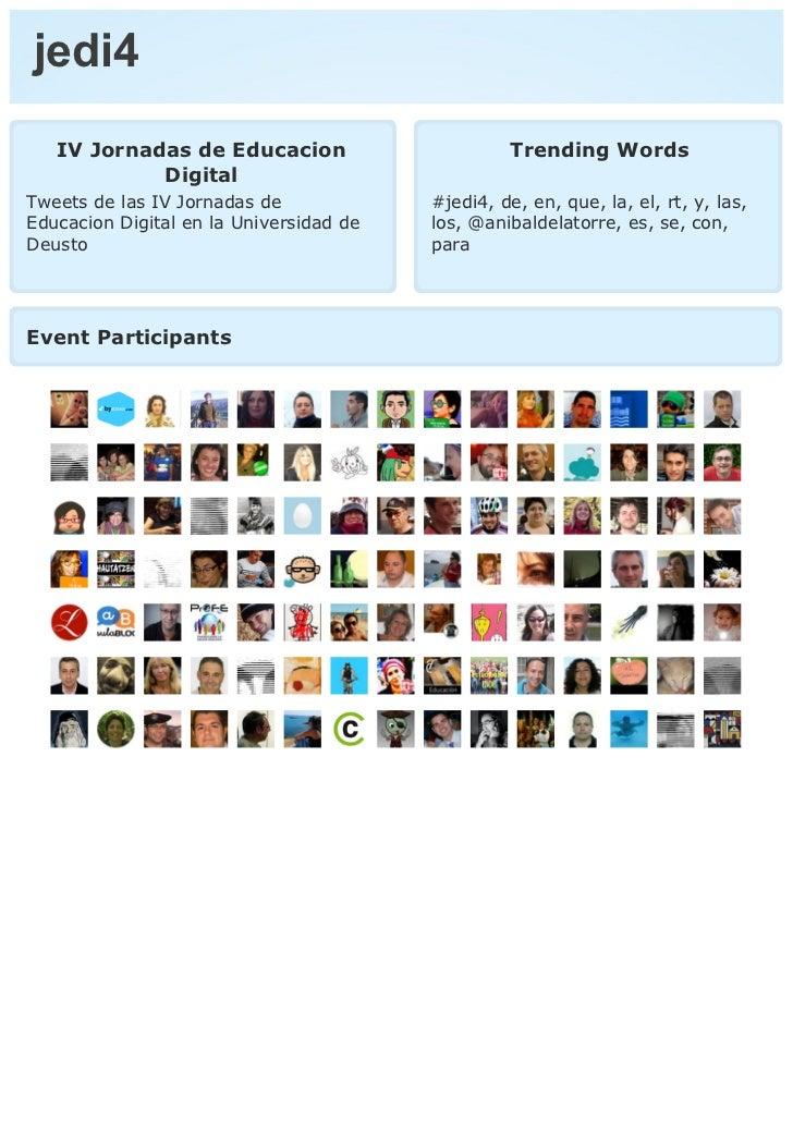 jedi4   IV Jornadas de Educacion                       Trending Words            DigitalTweets de las IV Jornadas de      ...