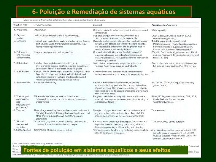 6- Poluição e Remediação de sistemas aquáticosFontes de poluição em sistemas aquáticos e seus efeitos