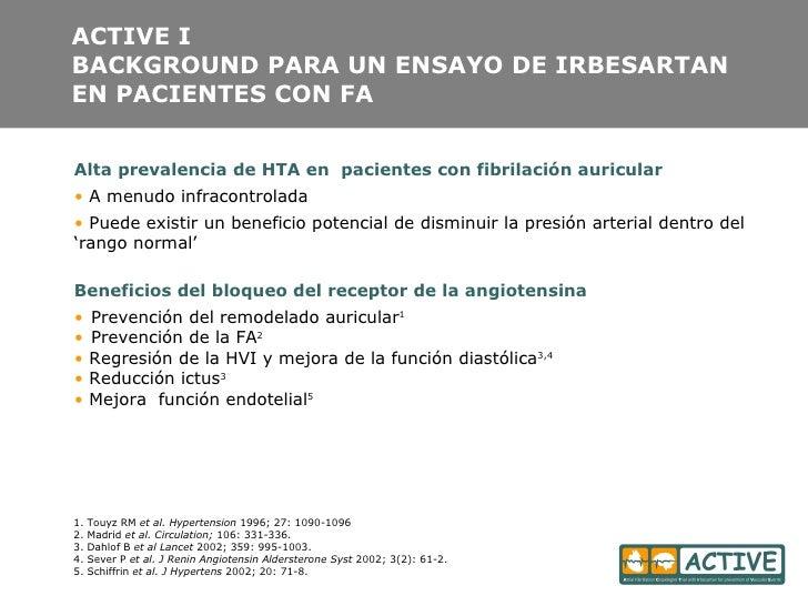 ACTIVE I BACKGROUND PARA UN ENSAYO DE IRBESARTAN EN PACIENTES CON FA <ul><li>Alta prevalencia de HTA en  pacientes con fib...