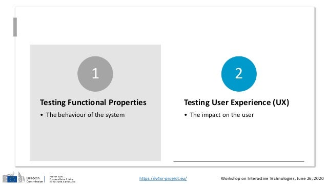 Testing Functional Properties • The behaviour of the system 1 Testing User Experience (UX) • The impact on the user 2 http...