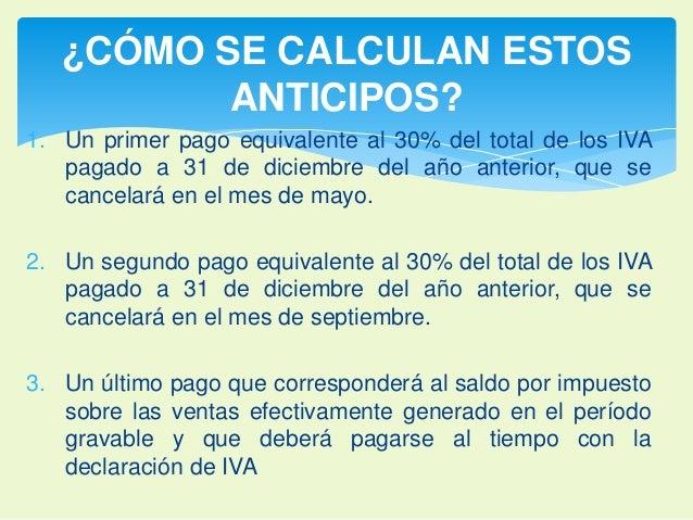 ¿CÓMO SE CALCULAN ESTOS  ANTICIPOS?  1. Un primer pago equivalente al 30% del total de los IVA  pagado a 31 de diciembre d...