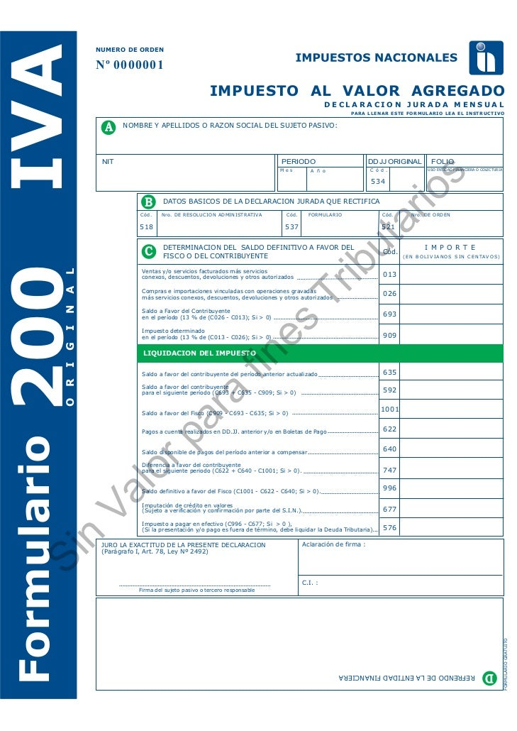 IVA     NUMERO DE ORDEN        Nº 0000001                                              IMPUESTO AL VALOR AGREGADO         ...