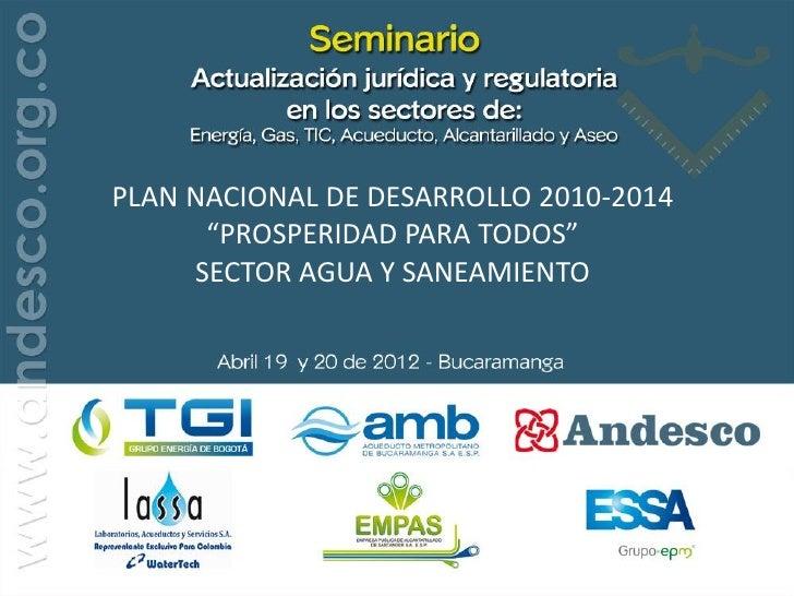 Ministerio de Vivienda, Ciudad y TerritorioViceministerio de Agua y SaneamientoRepública de Colombia             PLAN NACI...