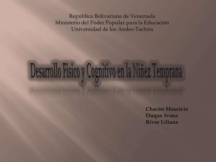 República Bolivariana de VenezuelaMinisterio del Poder Popular para la Educación      Universidad de los Andes-Tachira    ...