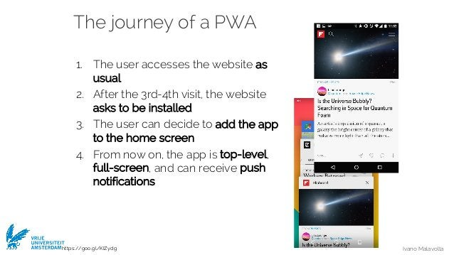 Ivano Malavolta VRIJE UNIVERSITEIT AMSTERDAM The journey of a PWA 1. The user accesses the website as usual 2. After the 3...