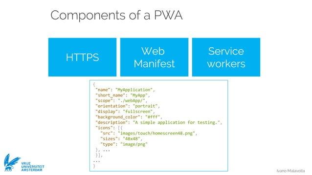 "Ivano Malavolta VRIJE UNIVERSITEIT AMSTERDAM Components of a PWA HTTPS Web Manifest Service workers { ""name"": ""MyApplicati..."