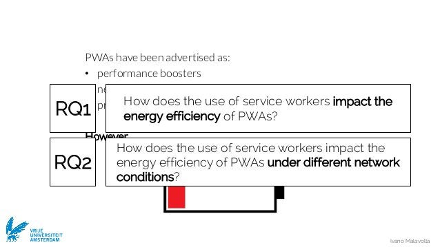 Ivano Malavolta VRIJE UNIVERSITEIT AMSTERDAM PWAs have been advertised as: • performance boosters • network savers • provi...