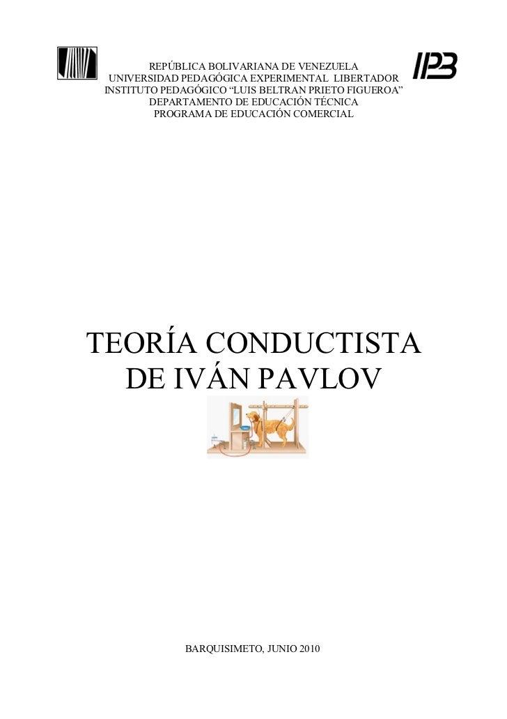 "REPÚBLICA BOLIVARIANA DE VENEZUELA UNIVERSIDAD PEDAGÓGICA EXPERIMENTAL LIBERTADORINSTITUTO PEDAGÓGICO ""LUIS BELTRAN PRIETO..."